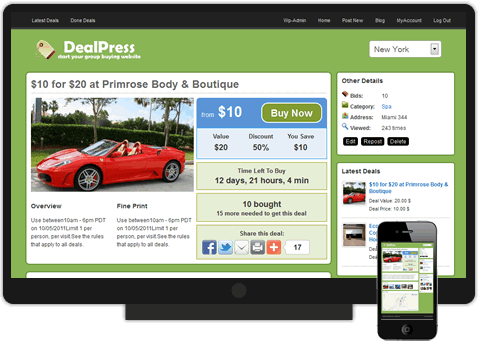DealPress Group Buying Theme / Daily Deals Theme - SiteMile.com