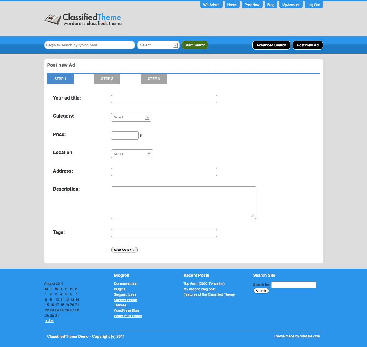 WordPress Classified Ads Theme / Classified Ads Script - SiteMile.com