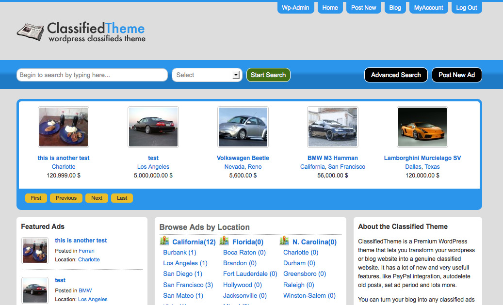 WordPress Classified Ads Theme / Classified Ads Script - SiteMile.com