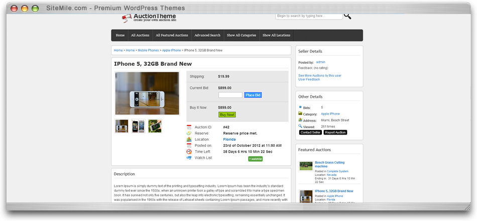 Wordpress Responsive Auction Theme Auction Script Sitemile Com