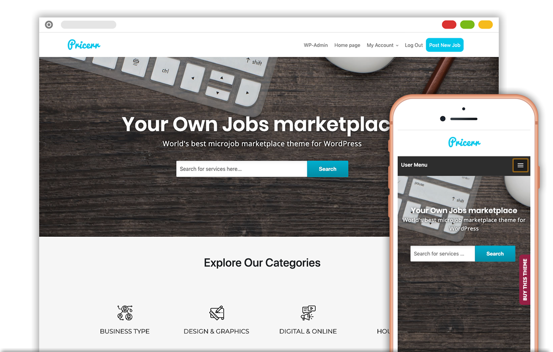WordPress Pricerr Microjob Theme