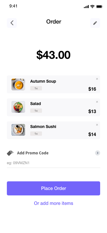 Food Delivery App - customer example